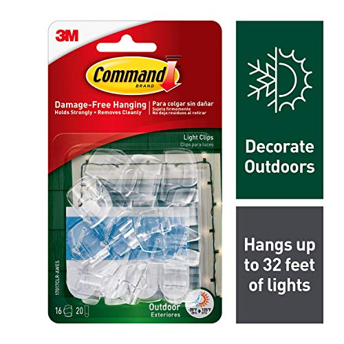 - Command 4-packages of Outdoor Light Clips, Hang Lights Damage-Free, Water-Resistant Strips (17017CLR-AWES)