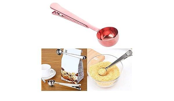 Xiaohui Herramientas de café 5PCS multifunción Cocina Cafetera Cucharada con Clip de Acero Inoxidable té café Taza de medición Cucharada de café (Color : Rose Gold): Amazon.es: Hogar