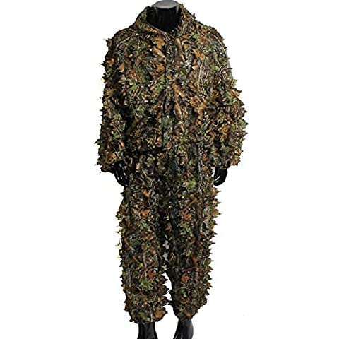 OUTERDO Camo Suits Ghillie Suits 3D Leaves Woodland Camouflage Clothing Army Sniper Military Clothes and Pants for Jungle Hunting ,Shooting, Airsoft, Wildlife Photography or Halloween