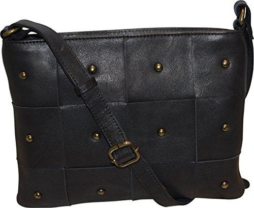 Crossbody Genuine amp; Paul Black Leather Vintage Women's Handbag Bag Zippered Taylor w0ddBIq