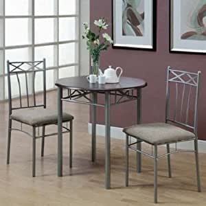 MHSI Piece Dining Set table 2 chairs silver metal base cappuccino furniture sale modern kitchen Dimensions L x W x H 30.00x30.00 x 30.50