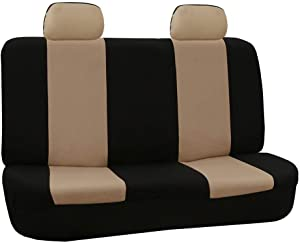 FH Group FB050012 Flat Cloth Seat Covers (Beige) Rear Set – Universal Fit for Cars Trucks & SUVs