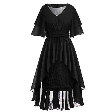 Amazon.com: Women\'s Plus Size Vintage V-Neck Irregular Lace ...