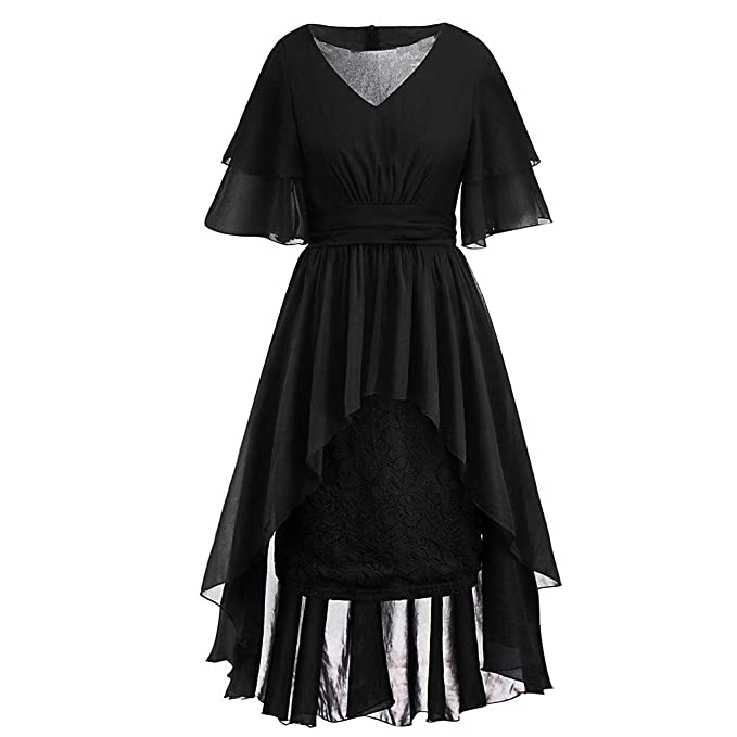 Women\'s Vintage Ruffle Sleeve High Low Lace Hem Country Rock ...