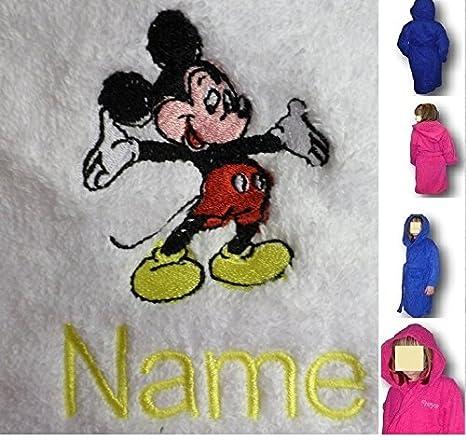 Albornoz infantil con capucha con un Logo de Mickey Mouse y nombre de tu elección, Edad 2 en color rosa: Amazon.es: Hogar