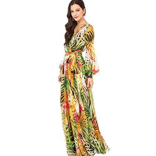 Rainforest Floral Print Bohemian Lantern Sleeve Chiffon Long Maxi Dress Size: M