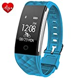 Fitness Tracker - Juboury Heart Rate Activity Tracker Touch Screen Wearable Pedometer Bluetooth Smart Wristand with Sleep Monitor - Steps Counter - Calories Track for Android and IOS Smart Phones (Skyblue)