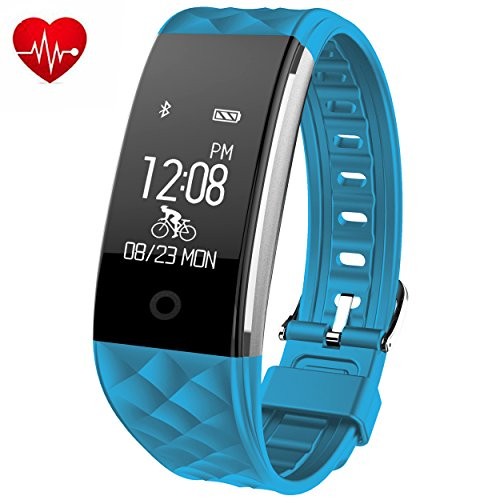 Fitness Tracker,Juboury Heart Rate Activity Tracker Touch Screen Wearable Pedometer Bluetooth Smart Wristand with Sleep Monitor,Steps Counter,Calories Track for Android and IOS Smart Phones (Skyblue)