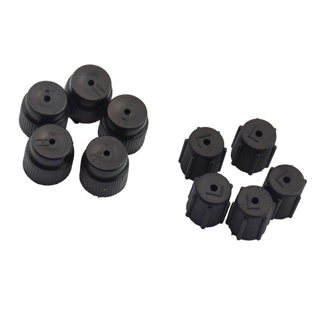 MagiDeal 10 Pieces AC A//C Charging Port Service Caps R134a R12 13mm /& 16mm Black