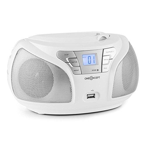 oneConcept Groovie WH mobile Bluetooth Boombox CD Radio mit USB (UKW-Tuner, AUX, MP3-fähiger USB-Slot, CD-Player, Tragegriff, Netz- und Akku-Betrieb) weiß