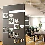 fan wall mirror - Staron 6Pcs Heart-shaped 3D Mirror Acrylic Removable Wall Stickers,DIY Art Mural Wall Sticker Beautiful Home Bedroom Living Room Wall Decals Sticker (B)