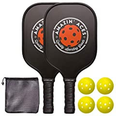 Our Amazin' Aces Graphite Paddle Set was designed to be great pickleball paddle at an affordable price. Great for both beginners and for players ready to take their game to the next level. The bundle contains two paddles, four pickleballs, &a...