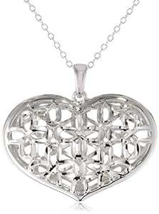 "Sterling Silver diamond-Cut Filigree Heart Pendant Necklace, 18"""