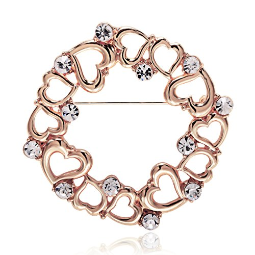 MANZHEN Delicate Gold Silver Plated Crystal Rhinstone Circle Loving Heart Brooch Pin Vintage for Women (Rose Gold) ()