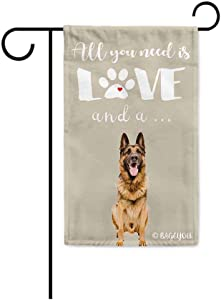 BAGEYOU All You Need is Love and a Dog German Shepherd Decorative Garden Flag for Outside Cute Puppy Paws Beige Background 12.5X18 Inch Printed Double Sided
