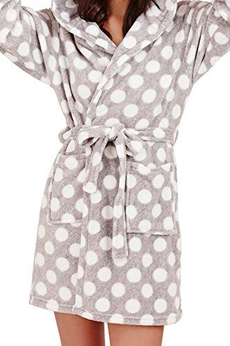 Loungeable - Albornoz - para mujer Grey Dots Hooded