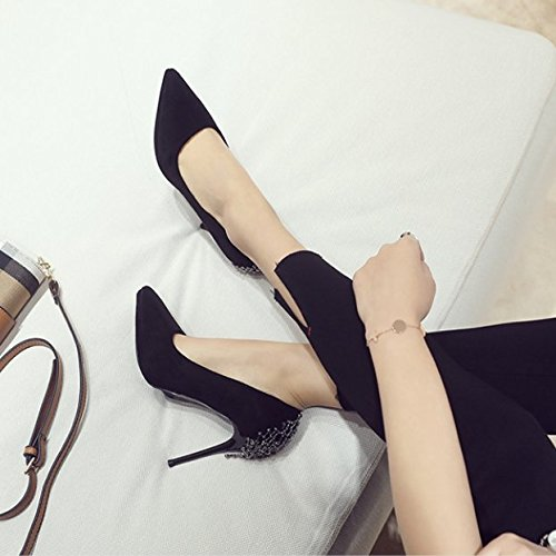 10Cm Work High Party Spring Pointed Black Leisure Single With Match MDRW Heeled Temperament Lady Sexy Waterproof Shoes 37 Ladies Shoes Suede Fine Elegant The A All EqWfv