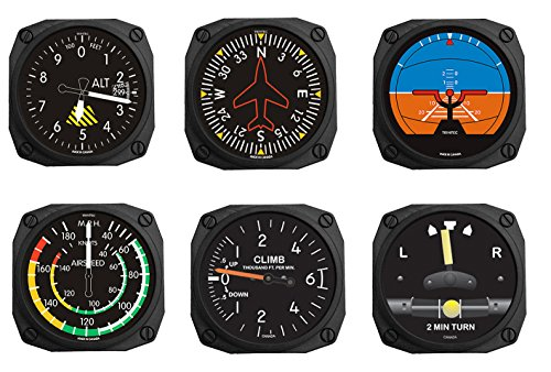 Trintec FMS 6 Piece Aviation Fridge Magnet Set Altimeter Gyro Horizon Airspeed 2 Min Turn and Climb - 2