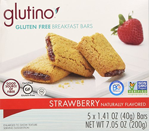 Glutino, Gluten Free, Strawberry Breakfast Bars, 7.05oz Box (Pack of 6)