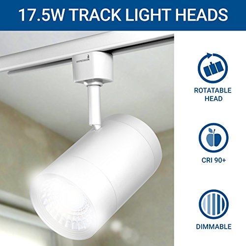 Hyperikon Track Light Head, H-Type Integrated LED Track Head, 17.5W (85W Equivalent), 4000K (Daylight Glow), 1200 Lumens, 40° Beam, CRI90+ Energy Star – for Accent Task Wall Art Exhibition (4 Pack) by Hyperikon (Image #1)'