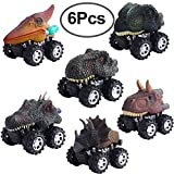 Hicdaw Pull Back Dinosaur Cars, 6 Pack Dino Cars Toys Pull Back Cars Toys for Boys Girls Kids' Creative Gifts for Christmas Halloween Thanksgiving Birthday