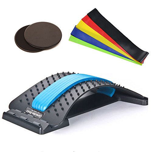 Kofull 2018 New Adjustable Back stretcher with 3 levels For Back Posture Corrector & Back Pain Relief, 5 PCS Elastic Resistance Bands & 2 PCS Slide Discs | Anti Slip, For Core Training, Yoga by Kofull