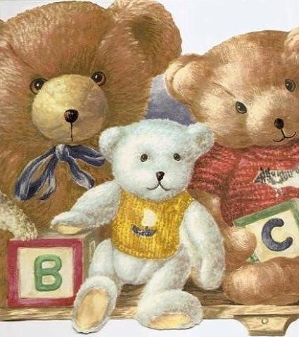 Wallpaper Border Teddy Bears Stuffed Animals ABC Blocks On Shelf Blue Red Yellow