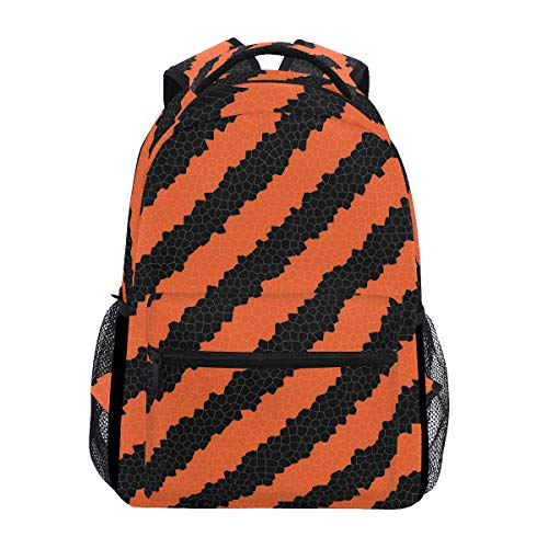 Fashion School Backpack for Girls Boys Causul Daypack Travel College Bookbag for Women & Men Halloween Black and Red Stipes Pattern Print Schoolbag ()