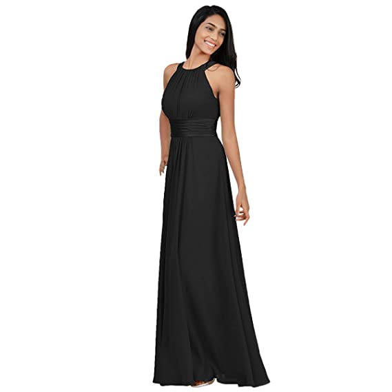 3fac894aca03 Women s Bridesmaid Chiffon Wedding Prom Dress Halter Sleeveless Floor  Length Dresses Summer Formal Cocktail Pageant Evening Party Ball Gowns High  Waist ...