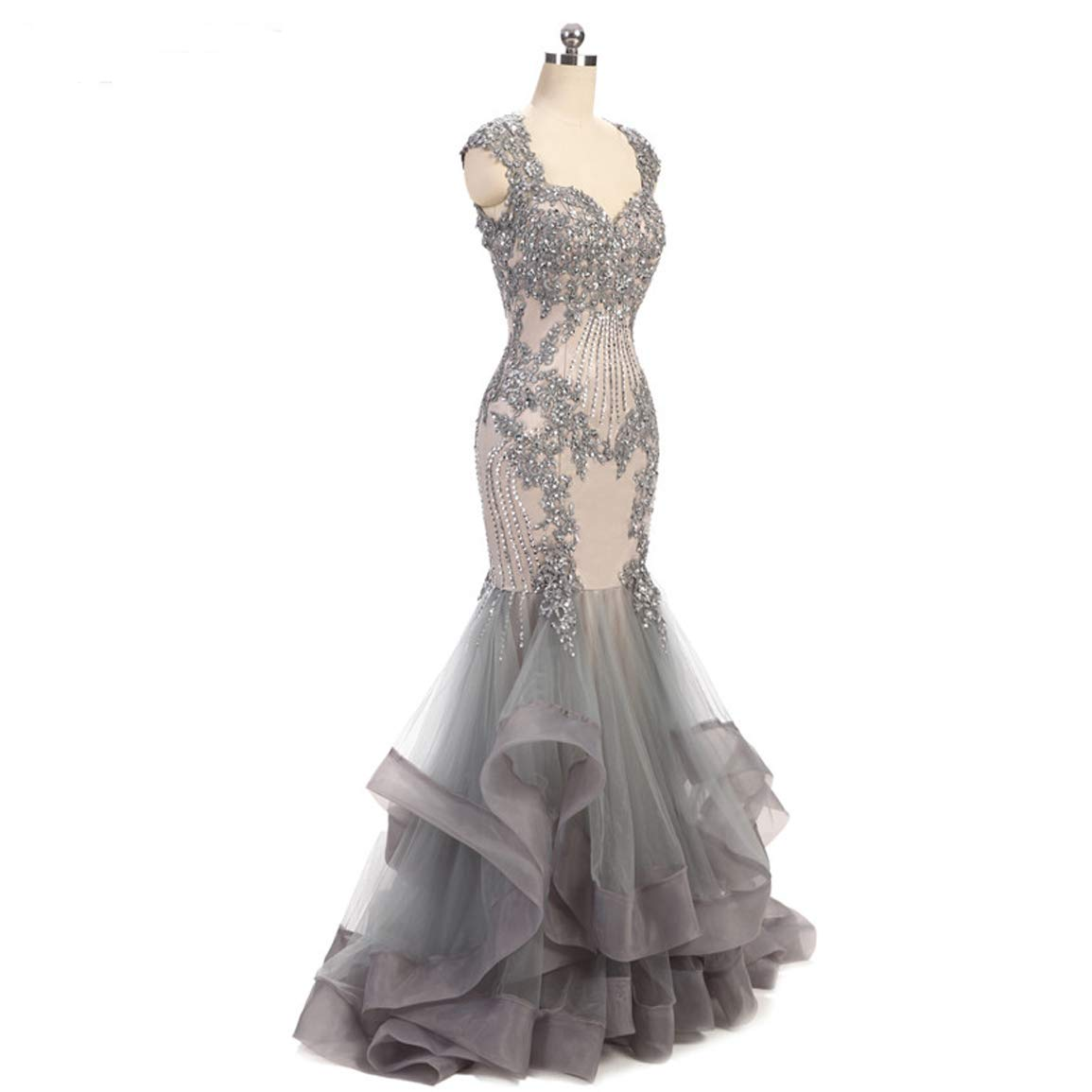 48357a996b Adela Women's Lace Beaded Mermaid Prom Dresses Tulle Ruffles Sequins  Evening Gowns Backless Bridal Dress AR142 at Amazon Women's Clothing store: