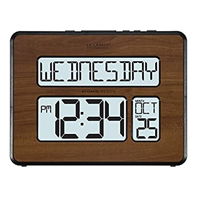 La Crosse Technology 513-1419BL-WA-INT Atomic Large Full Digital Calendar Clock, Pack of 1, Brown - Extra-large, easy to read digits to assist those suffering from memory loss and/or labor with abbreviated words Adjustable backlight (Hi/lo/off) using included AC adapter or battery operated on-demand use Simple operation - set time zone and clock automatically adjusts time & calendar to Atomic signal; accurate to the second - clocks, bedroom-decor, bedroom - 51wNaGh3loL. SS400  -