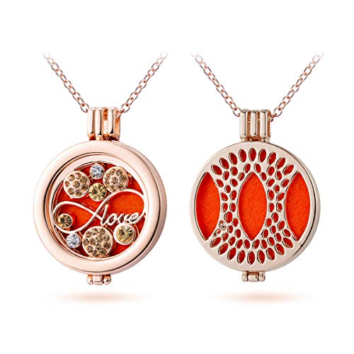Crystal Infinity Love Aromatherapy Essential Oil Diffuser Necklace Rose Gold Hollow Locket Pendant Jewelry for Bride,3 Felt Pads