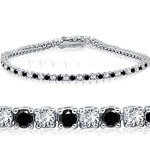 2ct Black & White Diamond Tennis Bracelet 14K White Gold 7″