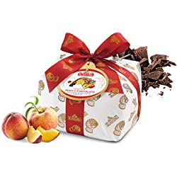 Albertengo Peaches and Chocolate Panettone Italian Holiday Cake, 2.2 Pound (Pack of 1)