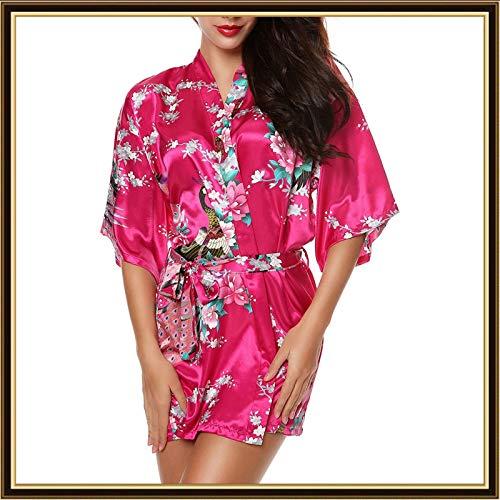 Womens Simulation Silk Kimono Robes Bride Bridesmaids Print Blossom Short Nightdress Wedding Bridal Lingerie for Ladies ()