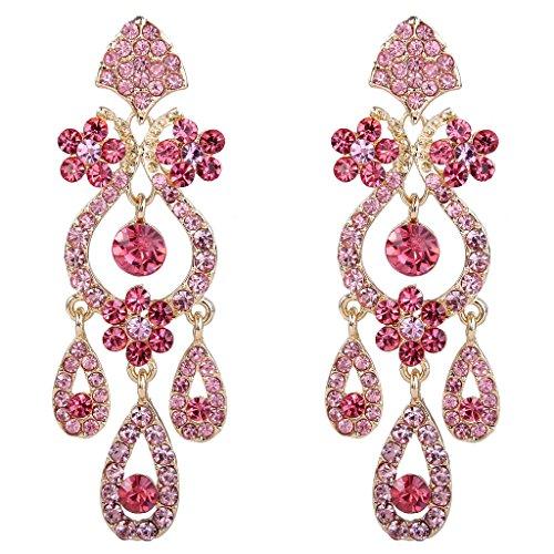 - EVER FAITH Women's Austrian Crystal Elegant Vase Chandelier Teardrop Dangle Earrings Pink Gold-Tone