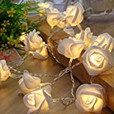 Rose Lights, Rose Flower Fairy String Light with 2 Optional Colors, 10ft 20 LEDs Battery Operated Night Light with Remote Control for Kids Bedroom, Mirror, Walls, Windows, Wedding (White&Yellow)