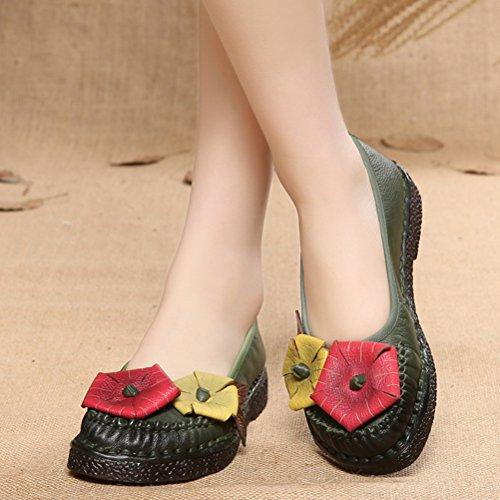 Mordenmiss Mujeres New Spring Summer Patrón De Flores Hecho A Mano Zapatos Planos De Cuero Mocasines Estilo 2 Verde