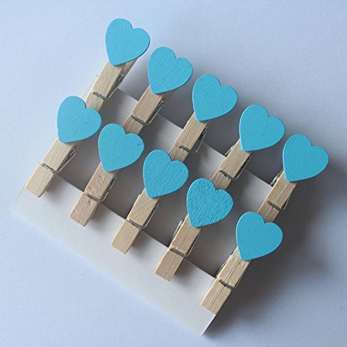 10pcs/set Mini Hearts Wooden Pegs Hanging Clothes Photo Clips DIY Crafts Wedding Party Decor - Double Frame Card Heart Place