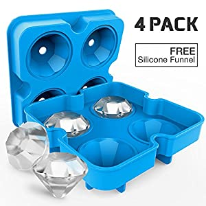 4 Pack Diamond-Shaped Silicone Ice Cube Trays with Lids, Bella Vino BPA-Free Stackable Easy Release Ice Molds Multifunctional Storage Containers for Ice, Whiskey, Candy and Chocolate (Blue-4Pack)