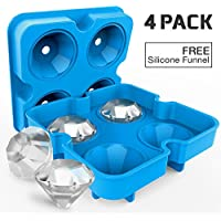 4 Pack Diamond-Shaped Silicone Ice Cube Trays