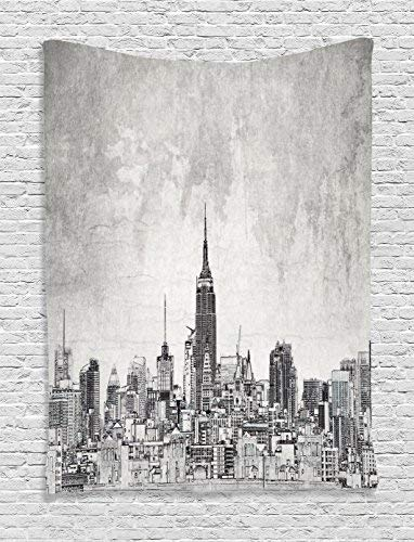 Maps Cosmopolitan Wall (Apartment Tapestry Wall Hanging, Cosmopolitan New York City Skyline with Iconic Skyscrapers and High Buildings Artsy Design Wall Art Tapestries for Home Bedroom Living Room Dorm Decor, Grey)