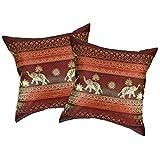 AeraVida Red Wine Thai Elephant Sun Stripes Silk Throw Pillow Cushion Cover Set (Red)