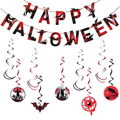 Halloween Decorations, Happy Halloween Banner Bloody Zombie Hanging Swirl Party Supplies Indoor or Outdoor TD031