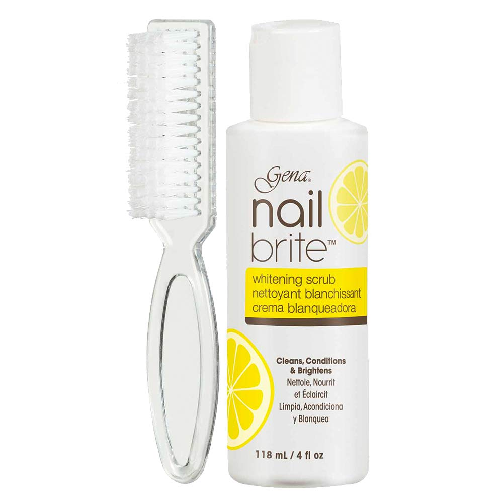 Gena Nail Brite Whitening Scrub with Brush, Cleans Conditions & Brightens Nails, 4 oz