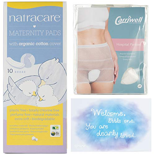 b0a91fc1fc6a5 Blessed Birth – Premium Maternity Bundle | 1 Pack of 5 Carriwell Postpartum  Hospital Panties, 1 Box of 10 Natracare Maternity Pads for After Birth &  Blessed ...