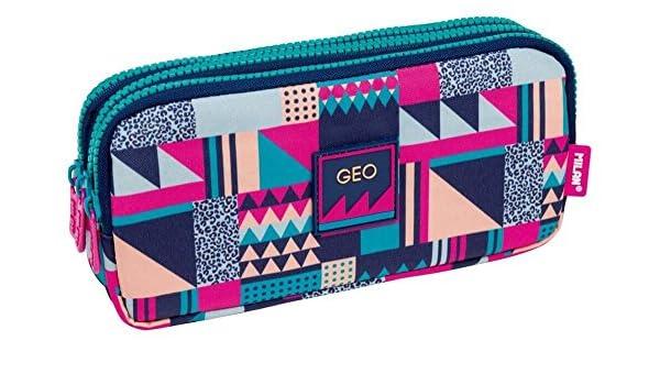 Portatodo Triple Milan New Geo Pink: Amazon.es: Oficina y papelería