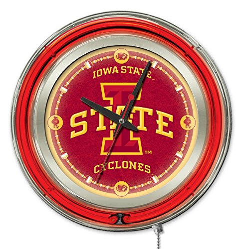 Holland Bar Stool Company NCAA Iowa State Cyclones Double Neon Ring 15-Inch Diameter Logo Clock from Holland Bar Stool Company