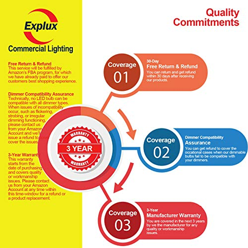 Explux Commercial Lighting Dimmable A19 LED Pink Light Bulbs, 60W Equivalent, 4-Pack