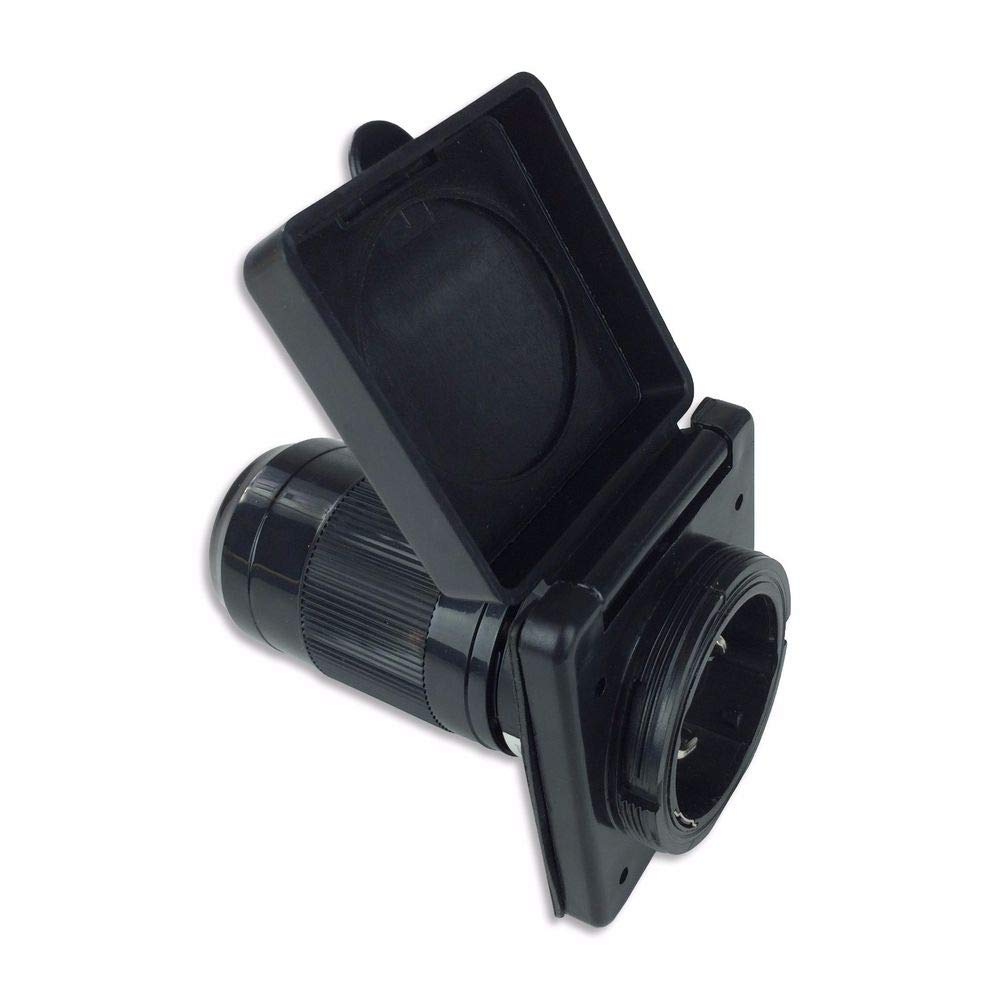 Black 50 amp RV power cord inlet twist lock for RVs, Marine, and other applications